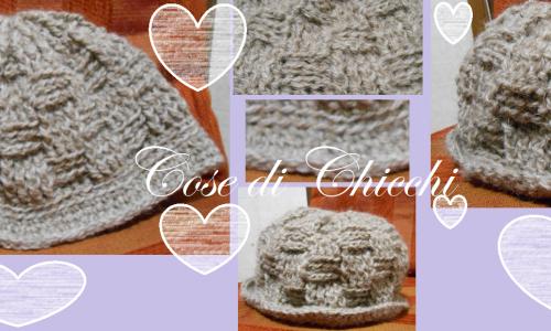 Berretta di lana a punto canestro